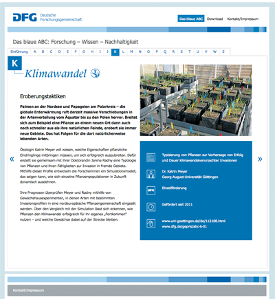 Screen Einzelseite Blaues ABC